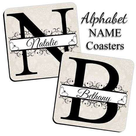 Alphabet NAME Coasters - Personalised Drinks Mat (Sold Singular) N31 A to Z